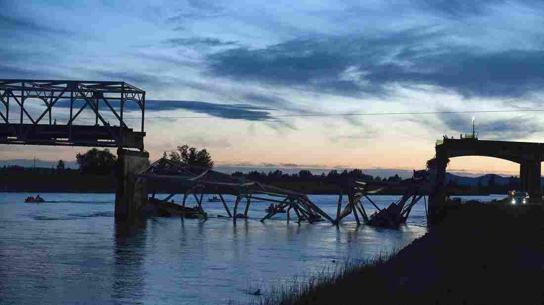 The scene near Mount Vernon, Wash., on Thursday after part of an Interstate 5 bridge collapsed into the Skagit River.