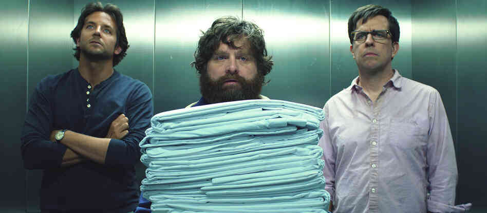 Dazed And Confused (And Just Plain Lazy): Zach Galifianakis (center), with Ed Helms and Bradley Cooper, is back for a third Hangover film.