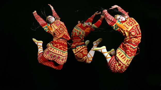 An image from the 2013 production of Le Sacre du Printemps by the Joffrey Ballet, Chicago, reflects the hard jumps and stamps of Vaslav Nijinsky's original choreography. (Joffrey Ballet)