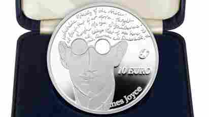 A commemorative 10-euro coin featuring James Joyce bears an image of the author that his literary estate did not approve. It also misquotes his work.