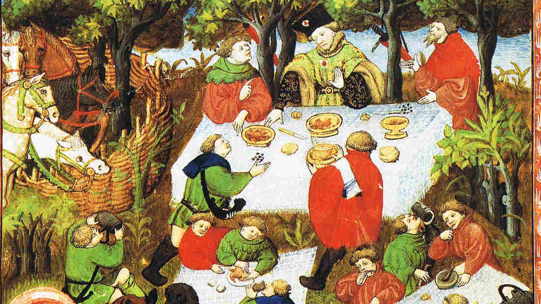 An illustration of noblemen enjoying a picnic, from a French edition of The Hunting Book of Gaston Phebus, 15th century.