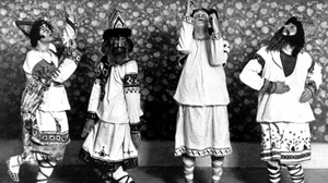 Dancers in folkloric costumes, moving unpredictably to pounding chords, characterized the 1913 Rite of Spring premiere at Paris' Champs Elysées Theater.