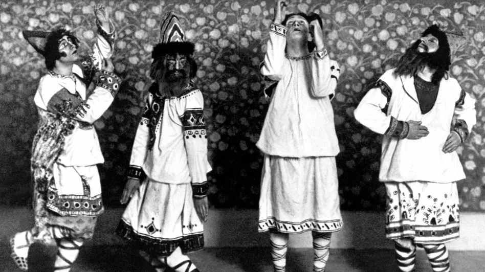 Dancers in folkloric costumes, moving unpredictably to pounding chords, characterized the 1913 Rite of Spring premiere at Paris' Champs Elysées Theater. (Getty Images)