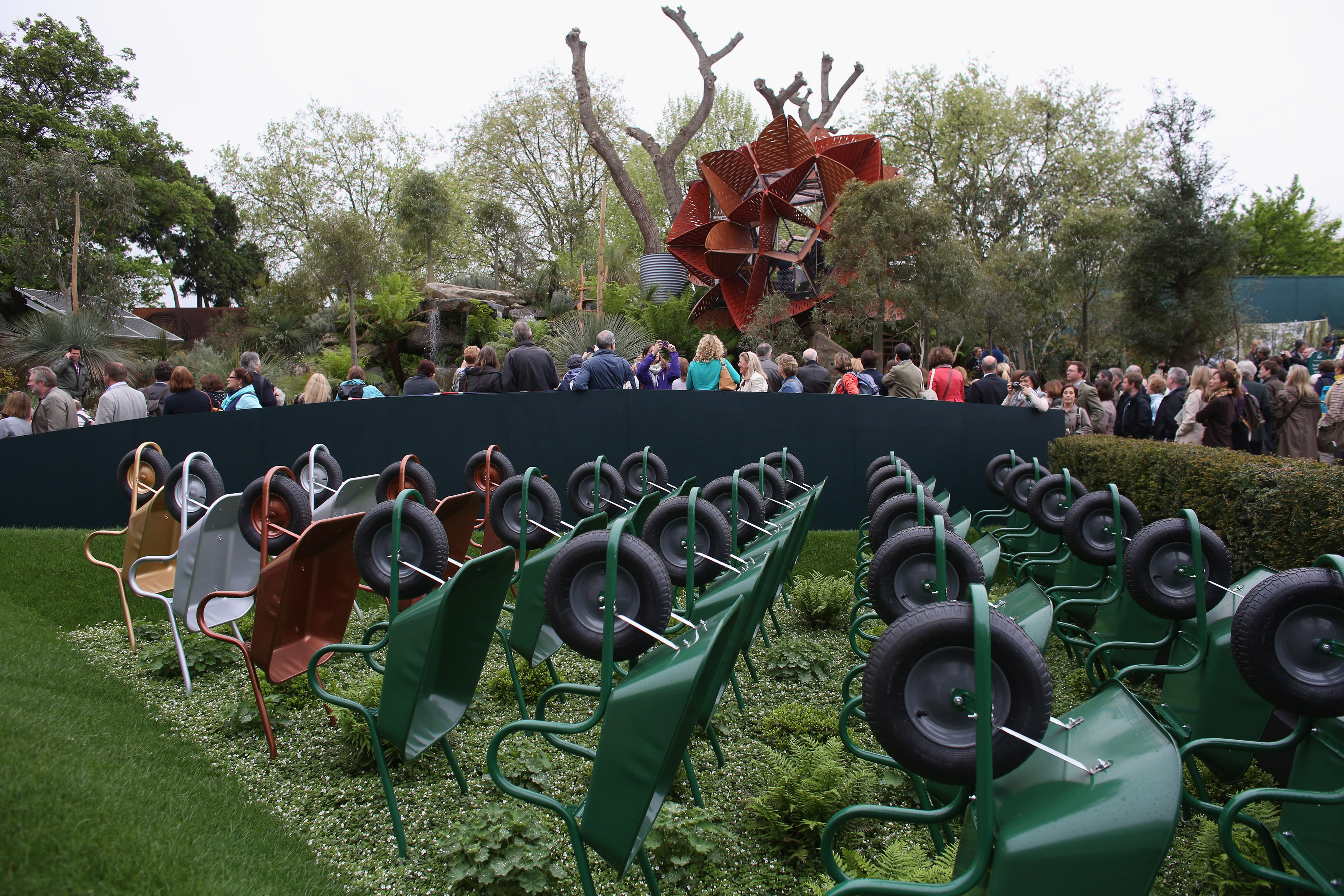 This show garden has plenty of wheelbarrows, but are there any gnomes?