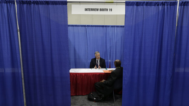A man interviews for a job in Detroit. The unemployment rate for black Americans in Michigan was 18.7 percent in 2012, m
