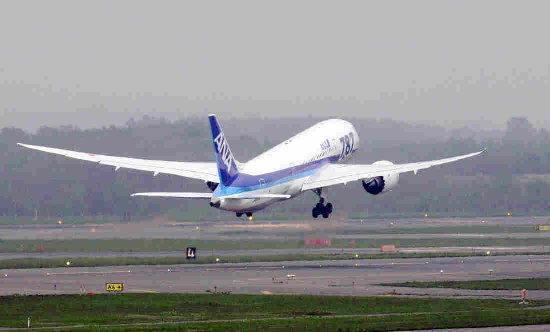 All Nippon Airways' Boeing 787 Dreamliner takes off from Chitose airport in Hokkaido, northern Japan, for Tokyo's Haneda airport on Sunday.