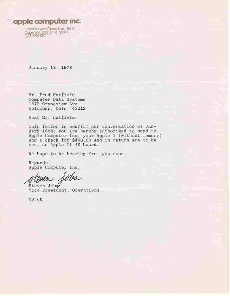 When Fred Hatfield expressed his dissatisfaction with the Apple-1, Steve Jobs personally offered to swap it out in this letter.