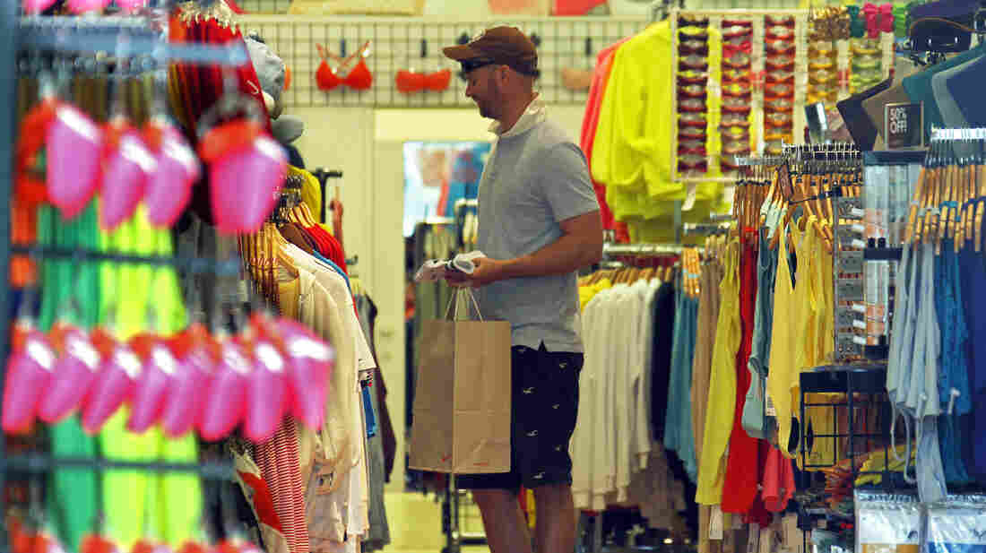 A man views merchandise at an American Apparel store on the Third Street Promenade in Santa Monica, Calif., on April 24, 2012. Each year, the company makes more than 40 million articles of clothing out of its L.A.-area factory.