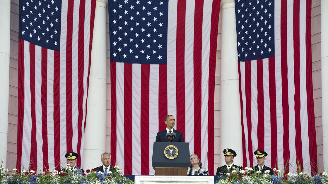 President Obama speaks during a Memorial Day ceremony at the Tomb of the Unknowns at Arlington National Cemetery in Arlington, Va.
