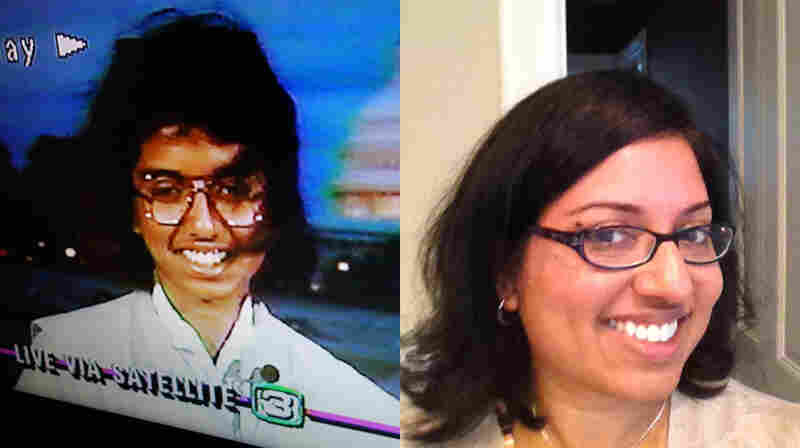 (Left) 1988 champion Raga Ramachandran gives a TV interview at age 13. Today, Ramachandran is a surgical pathologist at the University of California, San Francisco.