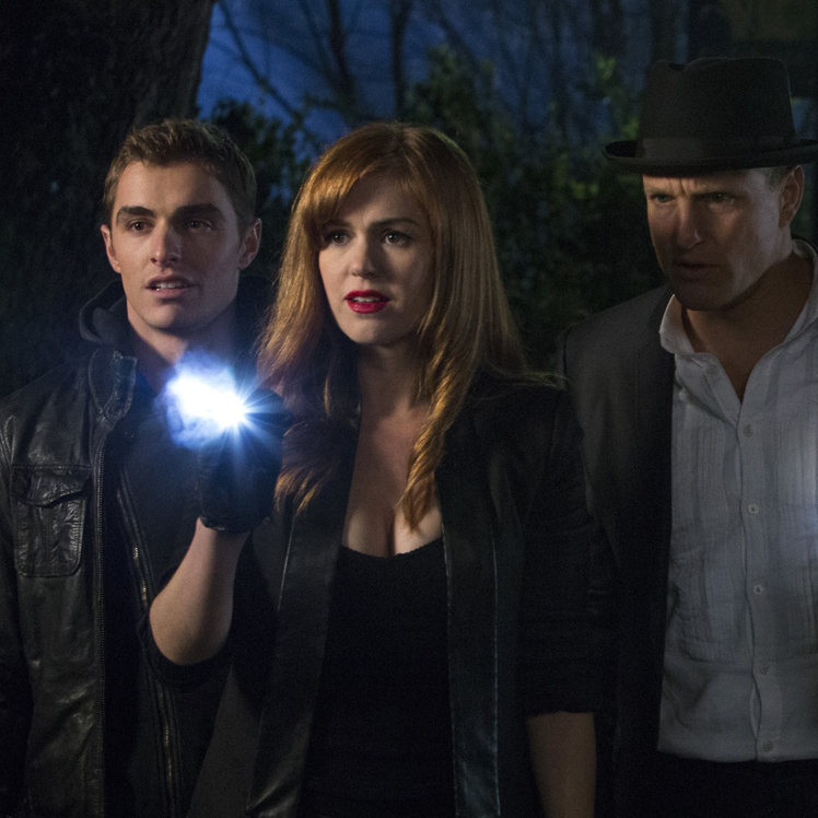 Now You See Me pits four master illusionists -- played by Dave Franco, Isla Fisher, Woody Harrelson and Jesse Eisenberg -- against a team of FBI agents.