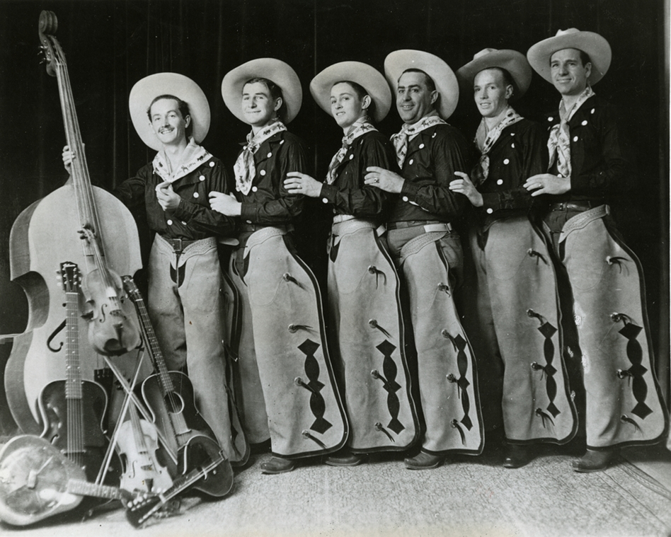 Woody Guthrie and the Pampa Junior Chamber of Commerce band, Pampa, Texas, 1936. (Courtesy of the Woody Guthrie Archives)