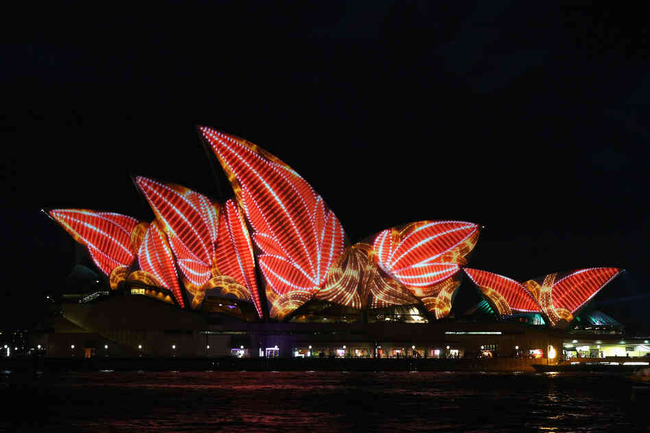 The sails of the Sydney Opera House are illuminated for the Vivid Sydney festival on May 24, in Sydney, Australia.