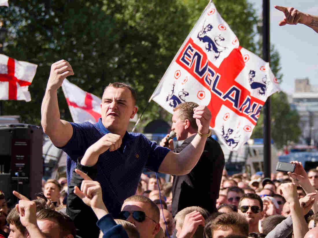 A supporter of the far-right English Defense League gestures near Downing Street in central London on Monday.