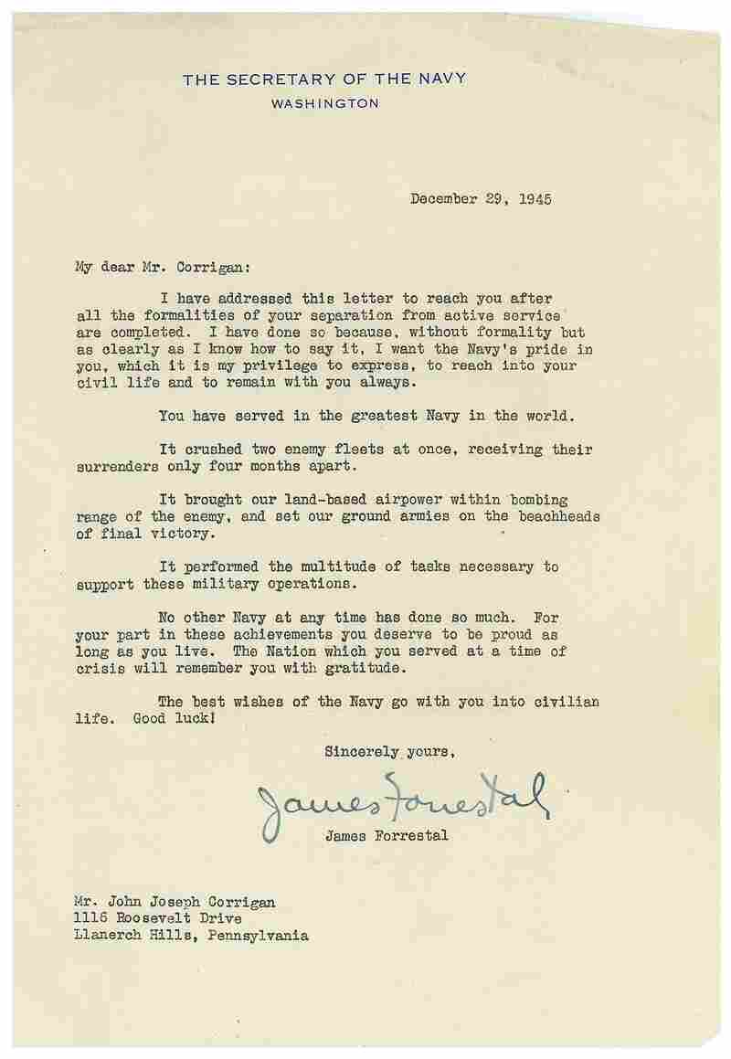 Letter to John Joseph Corrigan from James Forrestal.