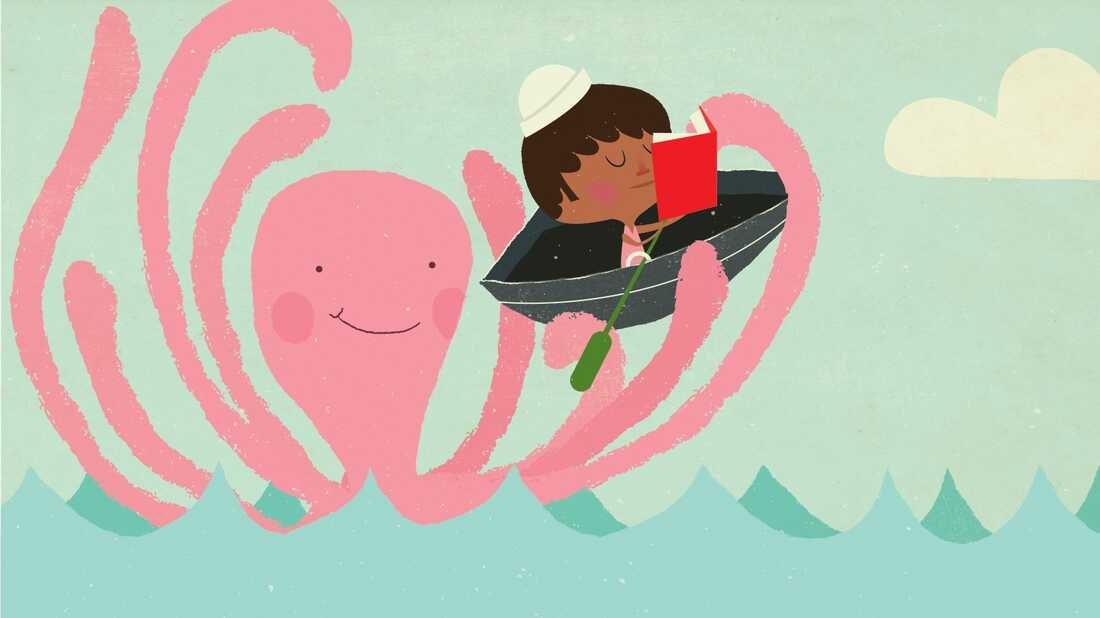 Illustration: A little boy in a boat reads a book as the boat is picked up by an octopus.