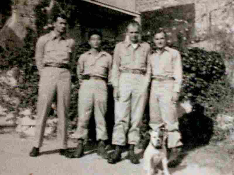Jim Moore (from left), Tad Nagaki, Stanley Staiger, and Ray Hanchulak in August 1945. The men were part of a commando group that one month later rescued 1,400 POWs from a prison camp in China.