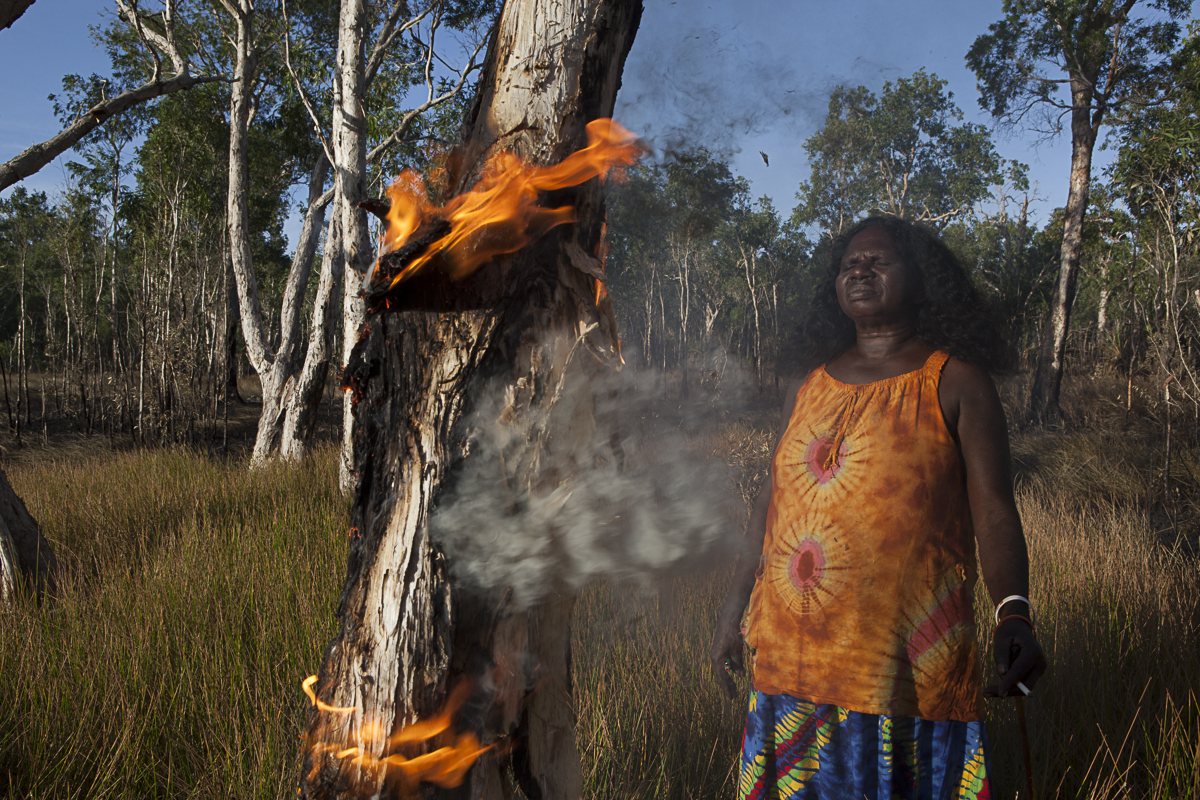 "Batumbil Burarrwanga manages her homelands with fire. ""Fire is my totem. I am fire. It is deep down inside me. Fire is my talent, my voice. When I talk, my voice is the flame; through the flame is my power."""