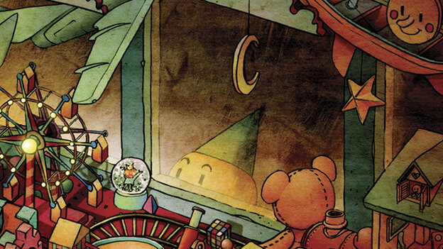 "A small, child-like creature in a cone hat peers into a toy shop, happy at the sight of a snow globe, in a vignette called ""Tininess"" in Darkness Outside the Night, a graphic novel illustrated by Xie Peng. Find out wha"