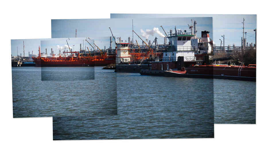 A collage of photos from the Houston Ship Channel. It is home to a wide range of heavy industry, including chemical processing plants and petrochemical refineries.