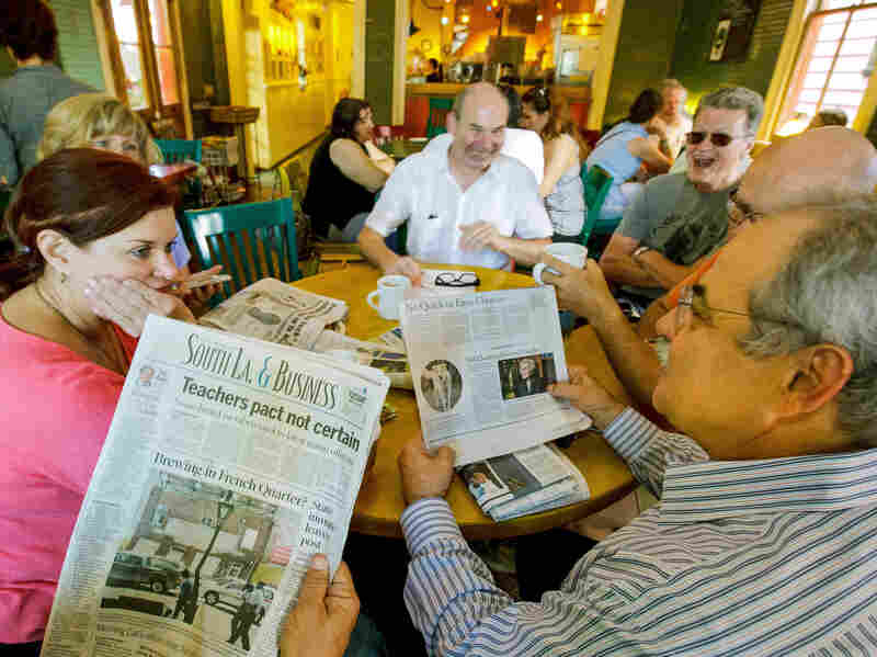 A year later, these friends are still gathering to talk over the paper, but it's not The Times-Picayune. From left: Sue Paraski, Sharon Morrow, Eric Hartman, Joe Mole.