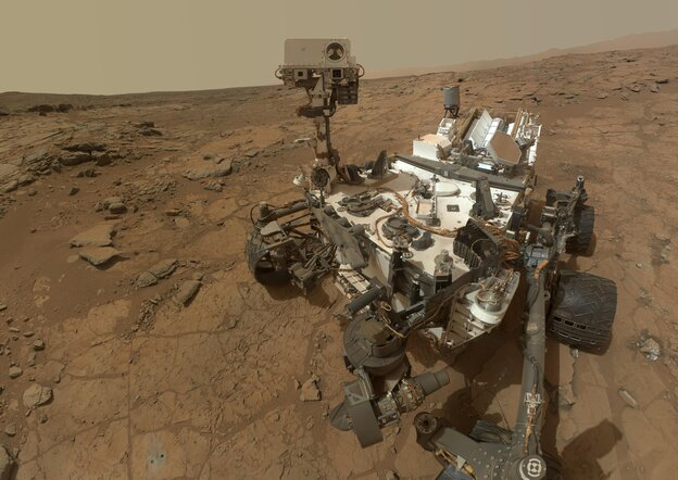 NASA's Mars rover Curiosity used its Radiation Assessment Detector (RAD) to measure radiation exposure on the way to Mars. Now, it's recording similar data on Mars' surface. This image is a composite self portrait taken on Feb. 3, 2013.