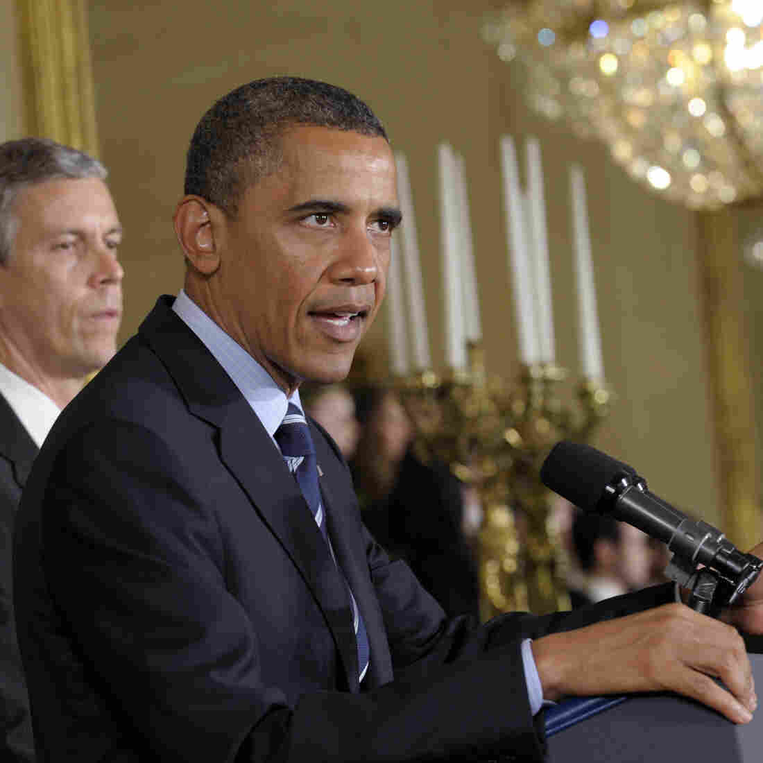 President Obama, with Education Secretary Arne Duncan at his side, calls on Congress on June 21, 2012, to stop interest rates on student loans from doubling. He is going to make that appeal again Friday.