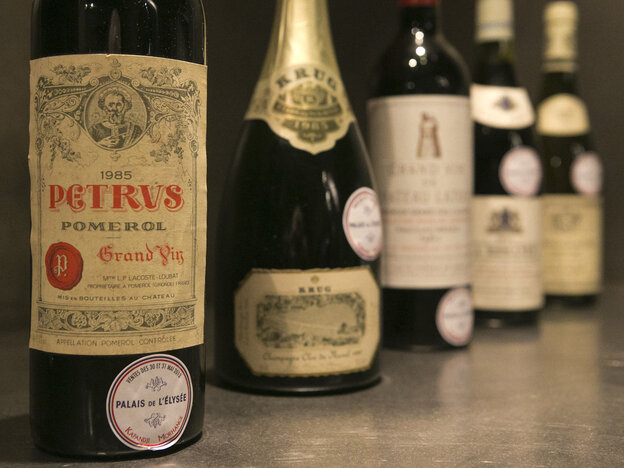 French President Francois Hollande's palace has decided to dive into its wine cellar and sell some of its treasures to raise money and replenish its collection with more modest vintages. About 1,200 bottles, a 10th of the Elysee's w