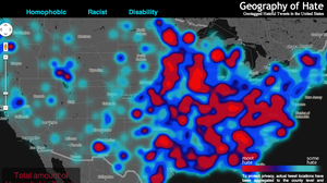 "Monica Stephen's ""Geography of Hate"" map, shows the locations of racial slurs on Twitter."