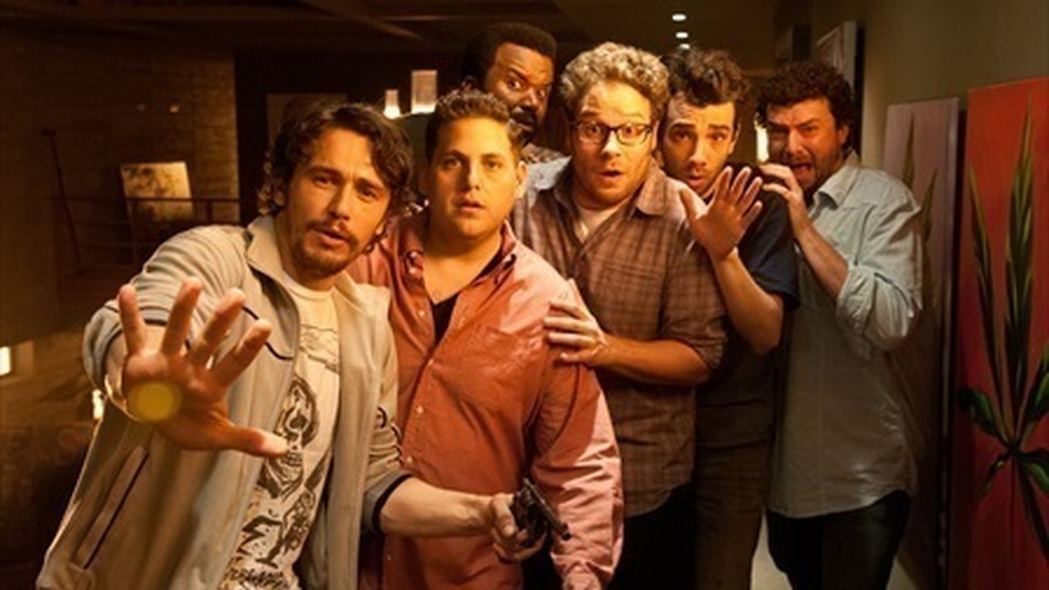James Franco (from left), Jonah Hill, Craig Robinson, Seth Rogen, Jay Baruchel and Danny McBride all play versions of themselves in the post-apocalyptic comedy This Is the End, written by Rogen and his writing partner Evan Goldberg. (Columbia Pictures)