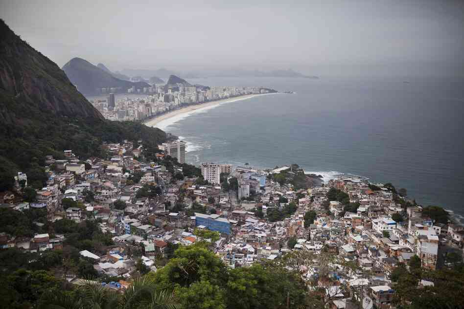 Views of Ipanema Beach and the South Zone in Rio are seen from Vidigal. An eco-friendly hotel is under construction in the favela. The hotel, which will hire local workers, is part of a massive gentrification process underway in a neighborhood once wrought with violence and drug traffickers.