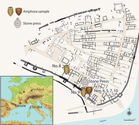 Map of the ancient settlement of Lattara (modern Lattes), showing the locations of the analyzed samples. Map courtesy of Lattes excavations, redrawn by Benjamin Luley.