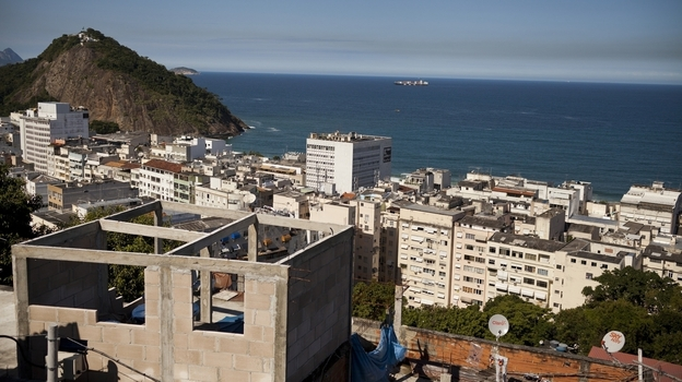 The small, hillside community of Babilonia, situated above the Leme and Copacabana neighborhoods in Rio de Janeiro, has ocean views. (Lianne Milton for NPR)