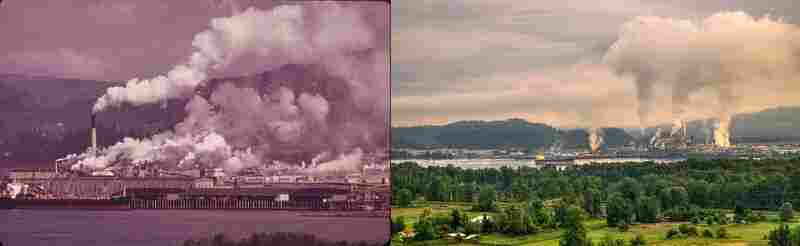 Columbia River, Rainier, Ore., in 1973 by David Falconer and 2012 by Craig Leaper