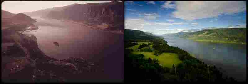 Columbia River Gorge, Ore., in 1973 by David Falconer and 2012 by Scott Butner