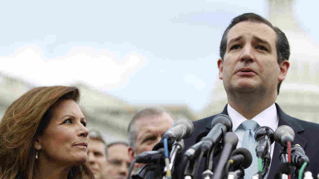 Sen. Ted Cruz, R-Texas, accompanied by Rep. Michele Bachmann, R-Minn., speaks during a news conference with Tea Party leaders on May 16. Bachmann, chairwoman of the Tea Party Caucus, announced this week she won't seek re-election. M