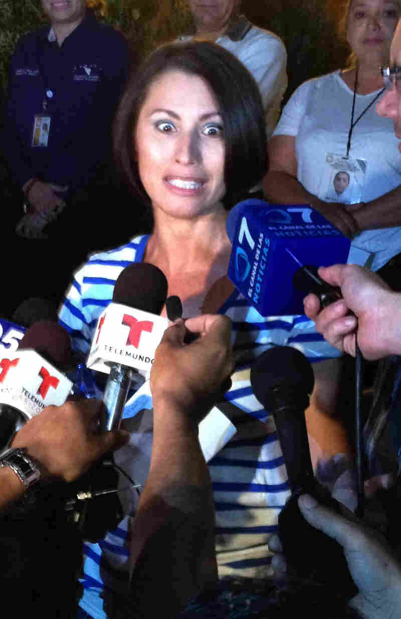 Yanira Maldonado talked to reporters late Thursday after her release from a prison on the outskirts of Nogales, Mexico.