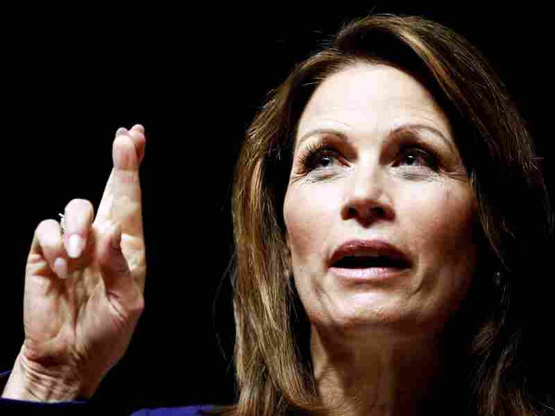 Rep. Michele Bachmann, R-Minn., gestures while speaking in Des Moines, Iowa, in Dec. 2011.