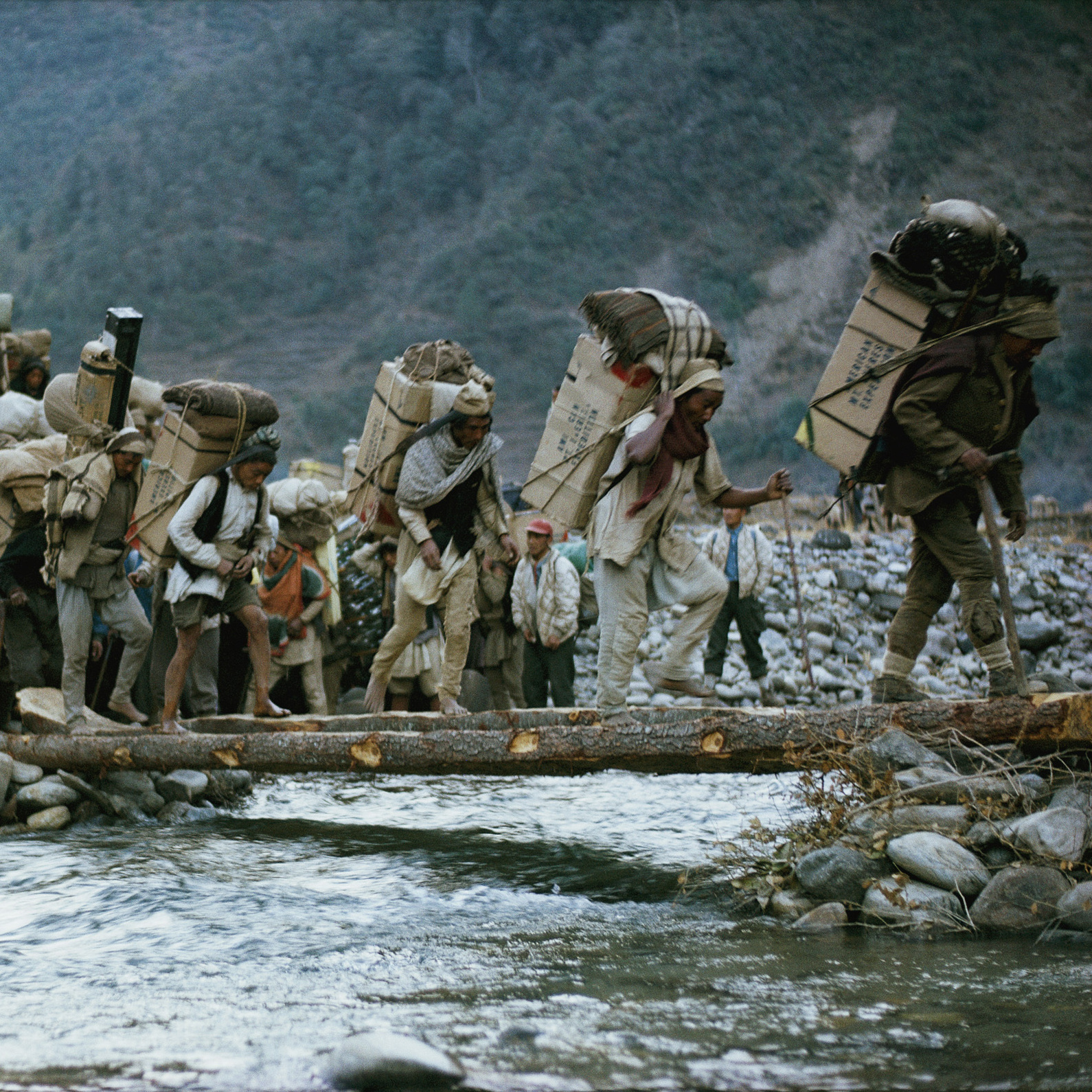 The 1963 American Mount Everest Expedition included more than 900 porters, who carried 27 tons of supplies to Base Camp. During that expedition, four men became the first Americans to summit Everest.