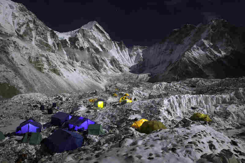 An image from The Call of Everest shows a quiet night at Base Camp.