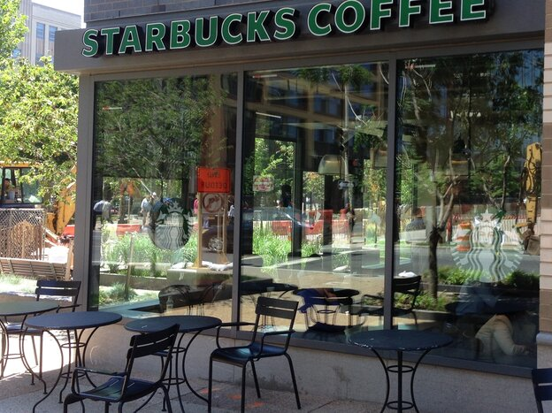Don't sit down here and have a smoke with your coffee, Starbucks says.