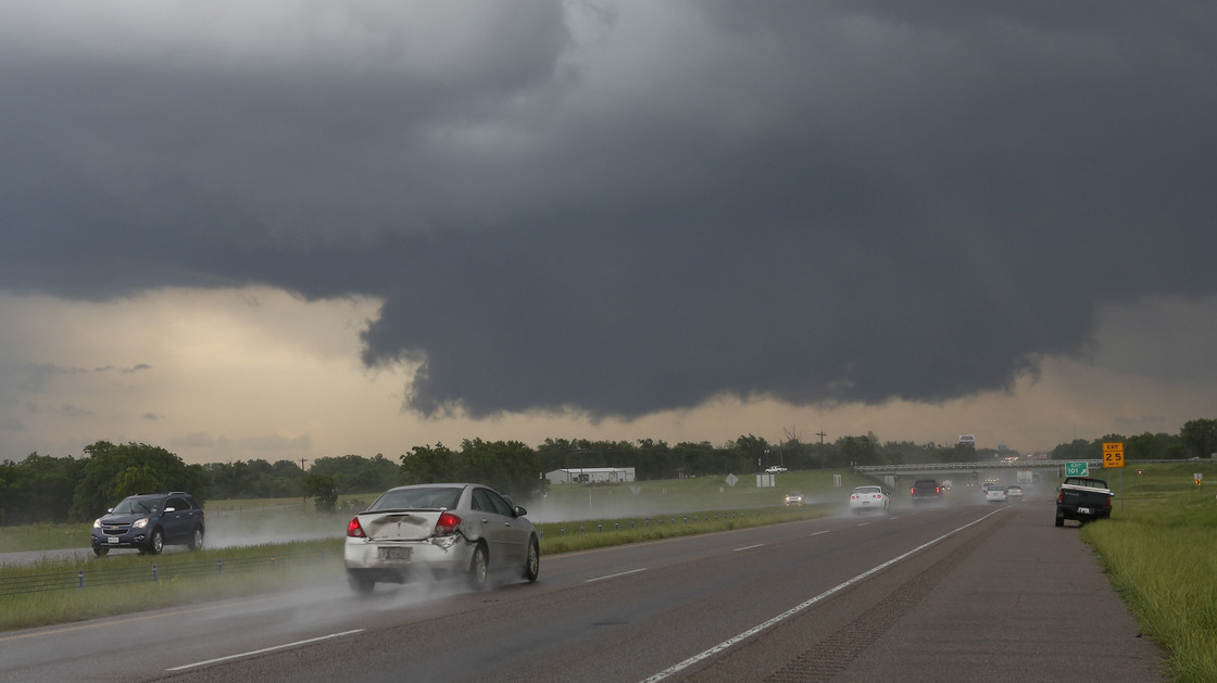 This ominous-looking wall of clouds formed near Purcell, Okla., on Thursday. There were more tornadoes in Oklahoma and Arkansas as severe weather continued to pummel those states.