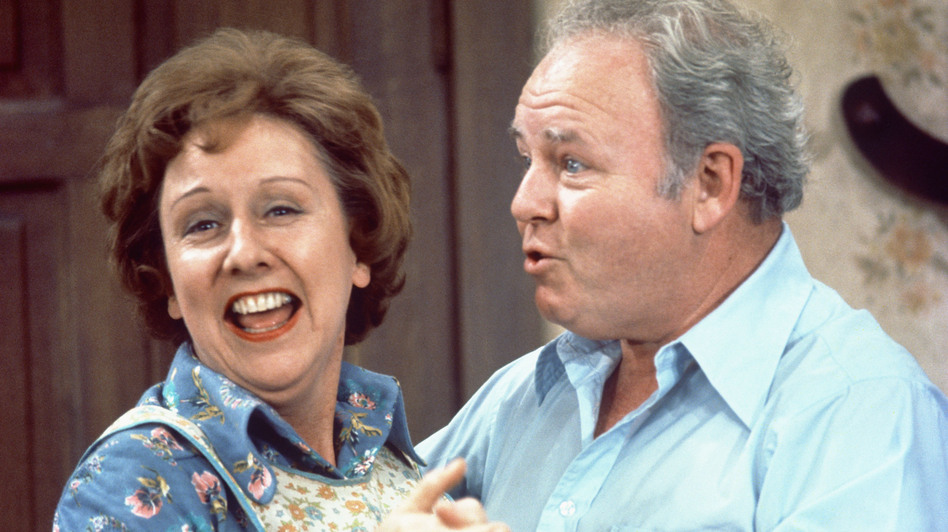 Jean Stapleton as Edith Bunker and Carroll O'Connor as Archie Bunker on the CBS TV series All in the Family in 1976. Stapleton died Friday at 90.