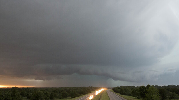 A tornado forms over I-40 as seen looking west from Indian Meridian Road in Midwest City, Okla. on Friday. (AP)