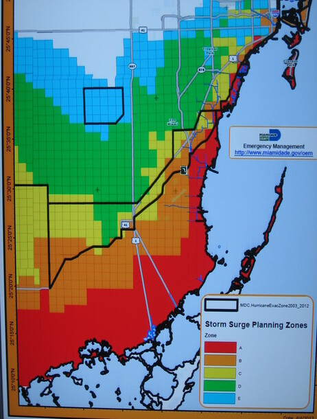 The National Hurricane Center is working on new storm surge maps — like this one of Miami-Dade County in Florida — to help residents understand their risk.
