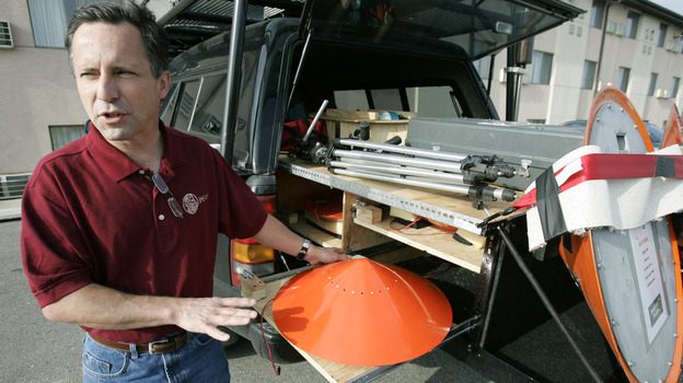 Tornado chaser Tim Samaras shows the probes he uses when trying to collect data from a tornado. This photo was taken May 26, 2006, in Ames, Iowa. (AP)