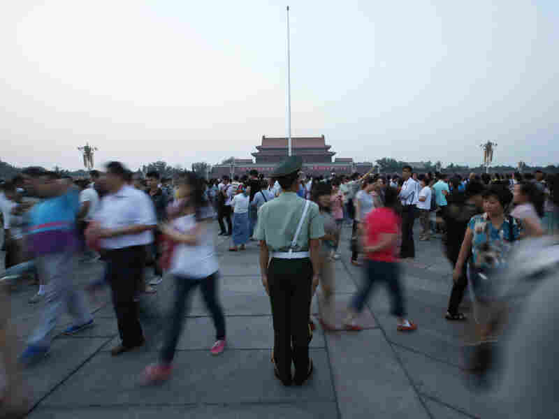 A paramilitary police officer stands guard at Tiananmen Square in Beijing on Monday.