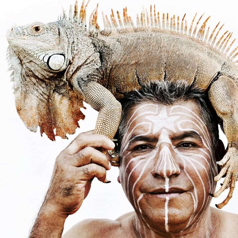 Man with iguana