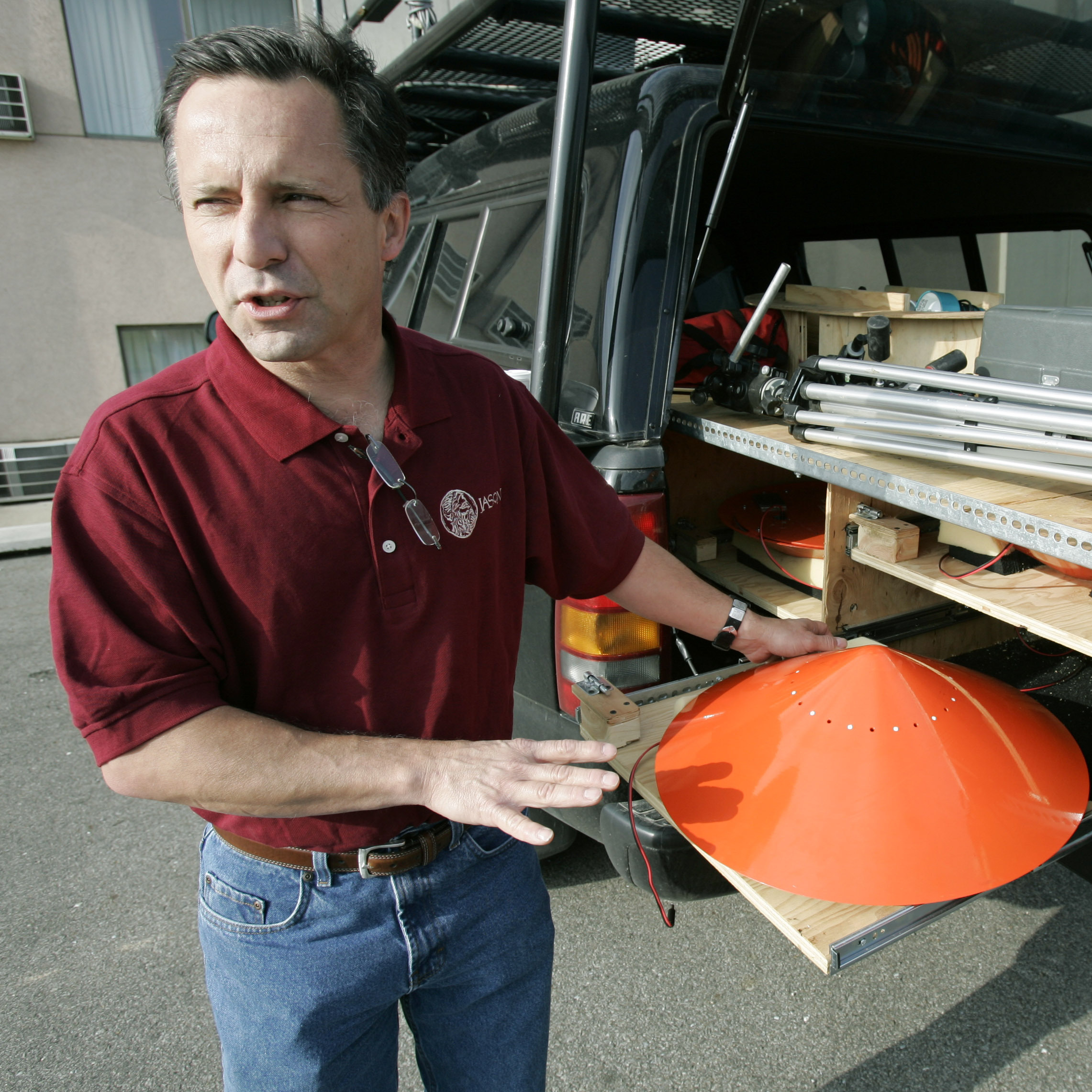 Tornado chaser Tim Samaras shows the probes he used when trying to collect data from a tornado. This photo was taken May 26, 2006, in Ames, Iowa.