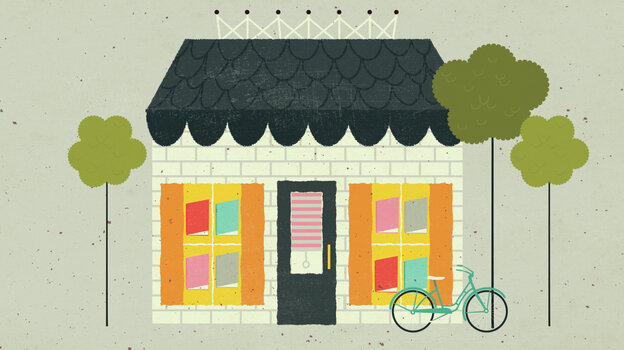 Illustration: Independent bookstore and bike.